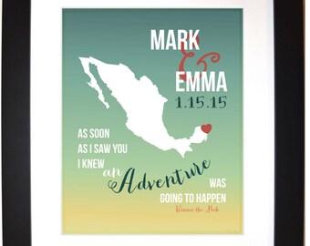 Honeymoon, gift ANY location, custom anniversary gift couple, adventure wall art, traveling vacation keepsake map art, cancun mexico wedding