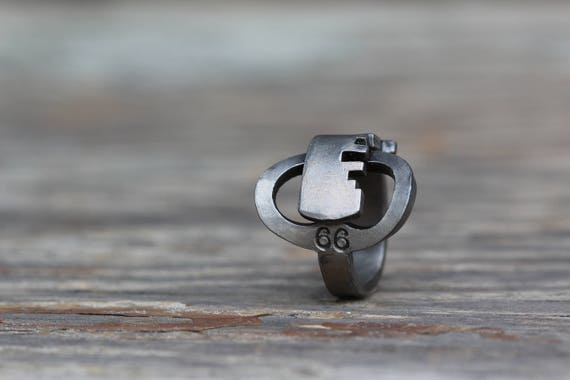 Ring made from an antique KEY! - Size 7.5 - Sargent - Skeleton Key - Repurposed - Upcycled - Powder Coated Steel - Lock - Padlock