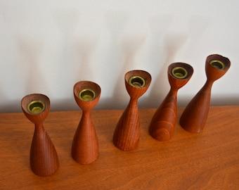 Vintage Teak Danish Modern Small Candle Holders Set of 5. Made in Denmark Teak Wood Candlesticks. Taper Candles. Mod Century Modern Decor