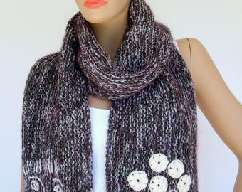 Scarf, knitted Scarf, Stole, Fall Fashion,  shades of white, dark green, purple