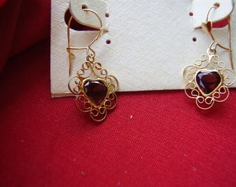 Vintage Danecraft Gold Over Sterling Ruby Heart Earrings