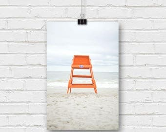 ocean landscape - life guard chair on myrtle beach south carolina
