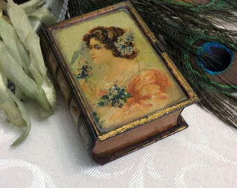 Beautiful Tiny Imperial Russian Book Shaped Soap Tin, c 1900 Pretty Lady Woman, Small Antique Trinket Keepsake Box, Book Lover Gift Vintage
