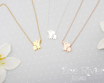Personalized initial elephant necklace, choose rose gold, silver or gold. Dainty elephant necklace, personalized with your choice of initial