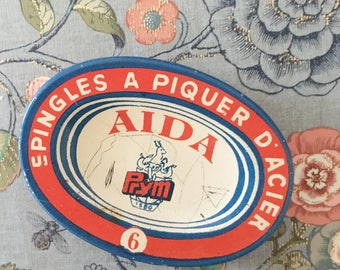 Small oval tin and what is inside- Aida no 6- small decor for the desk or office/atelier- creative gift to tailor/ jewelry maker