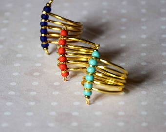 Ring 5 golden rings Cosmos seed beads
