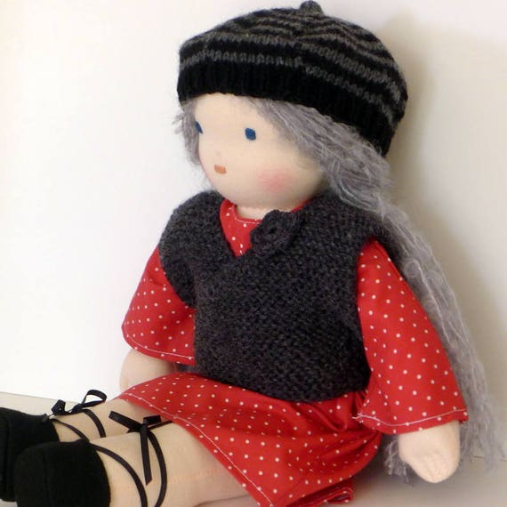 Waldorf doll - organic cotton - 40 cm - fabric - hand made - made in France