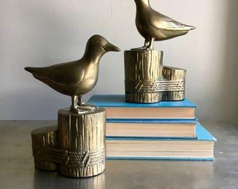 vintage large brass seagull bookends birds beach boho decor