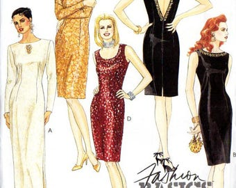McCall's Misses' Retro 1990s Deep V Little Black Dress Sewing Pattern