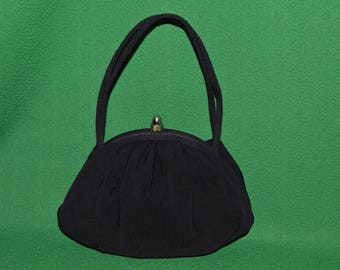 Vintage Evening Bag Black Satin JR  Julius Resnick Cocktail Purse Handbag 1950s