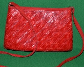 Vintage Red Straw Crossbody Purse Shoulder Strap Italy 1970-80s
