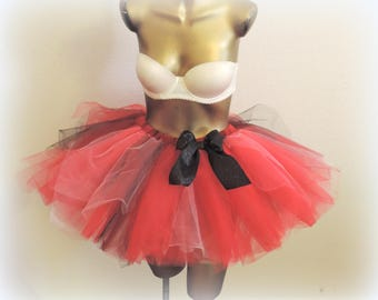 adult tutu, rave tutu, red black tutu, rock n roll,womens  halloween costume goth gothic tutu vampire devil costume