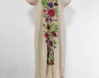 Hand Embroidered Dress Cotton Long Dress, Mexican Dress