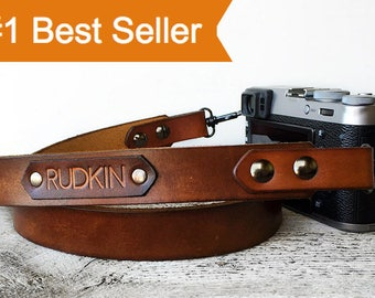 Camera Strap Personalized Gift, Leather Travel Gift, Custom Name, Leather dslr, slr Photographer Gift, Brown Camera Strap, Tech Lover