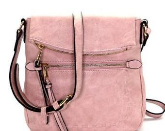 Blush Faux Leather Crossbody Bag