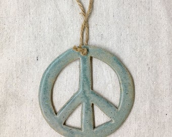 Ceramic Peace Sign Ornament