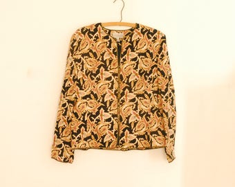 Black and Gold Print Silk Jacket - 1980s