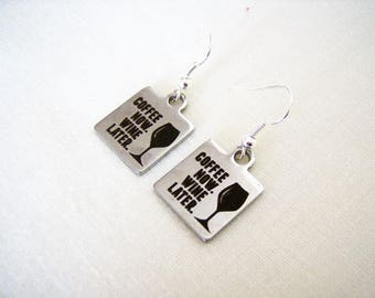 Stainless steel coffee wine charm earrings - coffee wine themed jewelry -  stainless steel earrings - wine themed earrings - coffee earrings