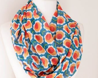 Flowers Infinity Scarf Circle Scarf Loop Scarf Gift For Her Wife Daughter Christmas Autumn Spring