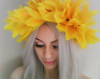 Yellow Flower Crown, Floral Crown, Flower Headpiece, Flower Headband