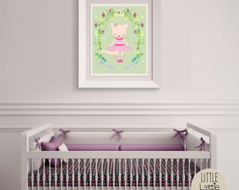 Clodagh Cat – a printable cat wall art poster with a beautiful flowered wreath.  Perfect for a hipster, woodland nursery.