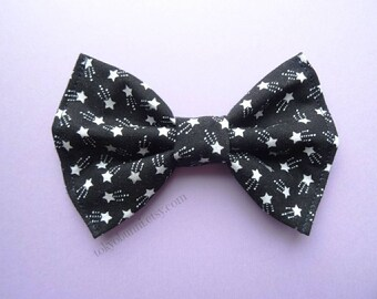 Black Starry Hair Bow Shooting Star Hair Bow - Kawaii -Fairy Kei -Pastel Goth-Cute - Harajuku-Gothic
