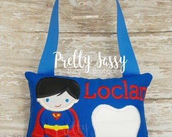 Tooth Fairy Pillow *  Superhero Tooth Fairy Pillow * Monogrammed Boys Tooth FairyPillow with Chart * Tooth Fairy Gift Ideas for Boys