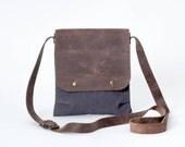 Sac à bandoulière de sac à bandoulière avec cuir Mesdames mens petit en toile gris