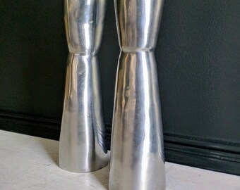 Modernist Candlesticks , Minimalistic Style Metal 1970's Pair of Candleholders