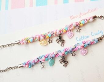 Unicorn charm braided bracelet, unicorn lover, fairy tale, kawaii bracelets, kawaii jewelry, cute jewelry, pastel bracelet, gift for girl