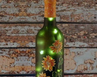 Sunflower decor, wine bottle lamp, hand painted bottle, yellow and green, accent lamp