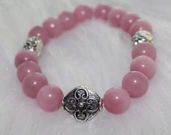 Boho Beaded Bracelet: Pink Beads with Silver Beads