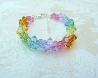 Swarovski Rainbow Rock Candy Bracelet- Swarovski Pastel Rainbow Bracelet- Swarovski Spring Rainbow Bracelet- Swarovski Top Drilled- 626