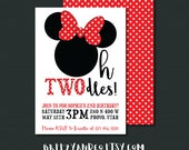 Minnie Mouse Birthday Invitation | OH TWODLES | 2nd Birthday Party | 5x7