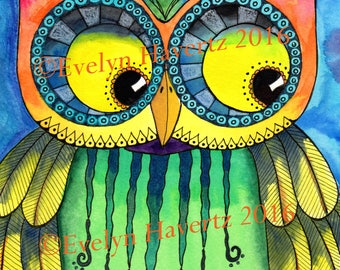 "Whimsical Owl ""Oskar"", mixed-media painting on watercolor paper"