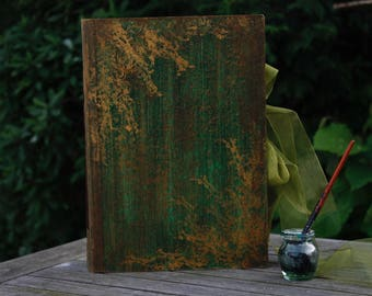 Rustic woodland wedding photo album | Green and gold wedding guest book| Enchanted forest scrapbook| Made to order, Forest Moss 8.5x10''