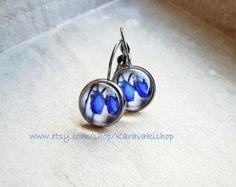 Drop Blue earrings,Royal blue earrings,Flower earrings,Glass cabochon earrings,Anemone earrings,Botanical Botanical jewelry,Gift for her