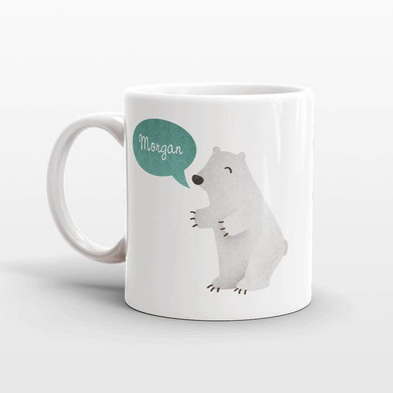 Custom Name Mug, Polar Bear Mug, Personalized Mug, Unique Coffee Mug, Office Mug, Best Friend Gift, Birthday Gift, Cute Animal Lover Gift
