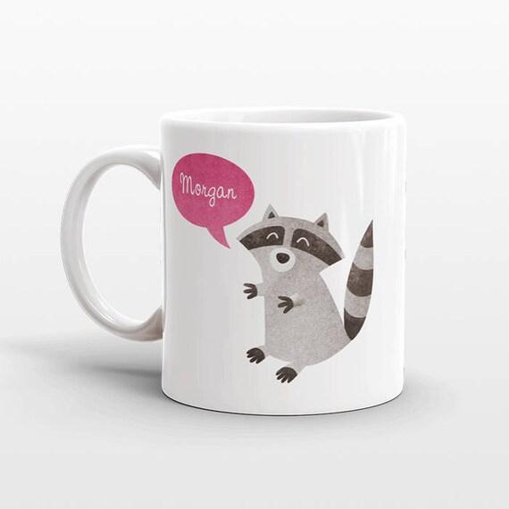Custom Name Mug, Raccoon Mug, Personalized Mug, Unique Coffee Mug, Office Mug, Best Friend Gift, Birthday Gift, Cute Animal Lover Gift