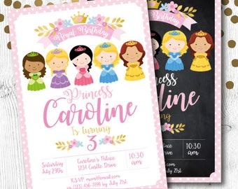 Princess Birthday Invitation, Princess Invite, Princess Invitation, Princess Party Invitation, 2 Options