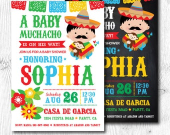 Fiesta Baby Shower Invitations, Mexican Baby Shower Invitations, Fiesta Baby Shower for boys, Mexican Fiesta Party, Digital, 2 Options