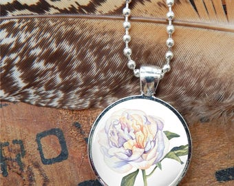 Peony Pendant, Peony Glass Necklace, White Peony Pendant Necklace, Watercolor Peony Floral Necklace, White Floral Pendant, White Flower