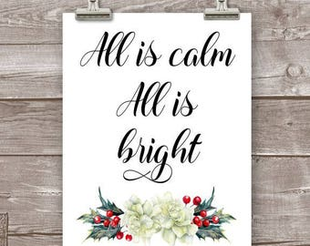 Christmas Art Print, All is Calm All is Bright Wall Art, Holiday Decor, Christmas Decor, All is Calm Sign, All is Calm Art Print