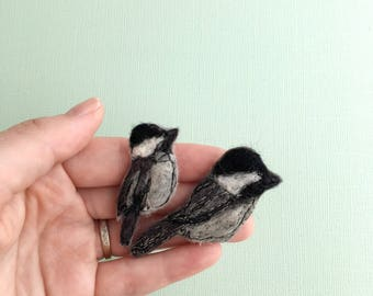 Chickadee felt magnet mom gift pin nature inspired bird lover gift under 20 woodland animals brooches with birds best animal brooch mother