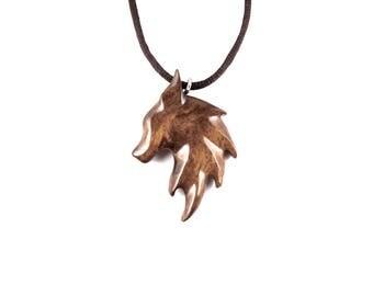 Fox Necklace, Fox Pendant, Wooden Fox Pendant, Fox Jewelry, Fox Totem Jewelry, Wood Fox Necklace, Fox Spirit Necklace, Wooden Animal Pendant