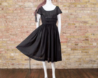 50s sheer black dress / tea length dress / retro dress / a line black dress / little black dress / swing dress / full skirt dress