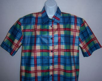 Vintage Traditional Trading Co. Blue Green Red Plaid Madras Print Polished Cotton Shirt Blouse 10 Medium Deadstock NWT NOS
