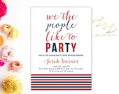 America Themed Bachelorette Party - Printable Bachelorette or Bachelor Invitation - Printed Bachelorette Invitations