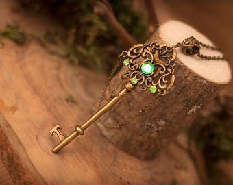 Forest Key Necklace, Fantasy Key Necklace, Fairy Necklace, Magical Necklace, Elven Necklace, Witch Necklace, Steampunk Key, Fantasy Necklace