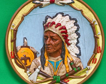 Hand-Painted Ceramic 3D Plate Or Wall Hanging, American Indian Cheif